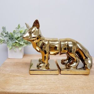 GOLDEN FOX BOOK END WEIGHTS- NEW WITHOUT BOX 🦊
